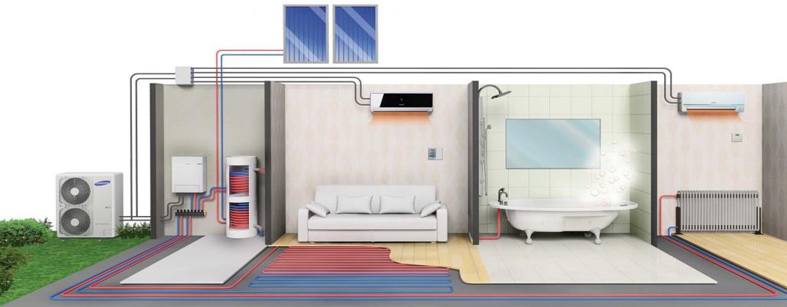 Sistema aerotermia calor y frio con placas solares